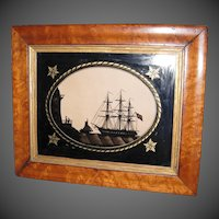 Framed 19th Century Verre Eglomise Silhouette of H.M.S. LEE Gun Boat