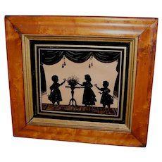 Framed Verre Eglomise Silhouette of British General Sir Ralph Darling's Children
