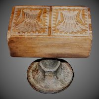 Primitive Double Wheat Sheaves Butter Stamp
