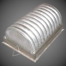 19th Century Primitive Ribbed Tin Half Round Ice Cream Mold