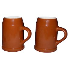 2 Vintage 14 oz. Beer Mugs-Steins by Hall Pottery Co. USA