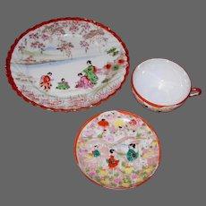 Geisha Girl Fluted Porcelain Plate, Cup & Saucer