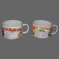 Vintage French Onion & Clam Chowder Soup Bowls with Recipe Motifs
