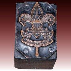 Printers Woodblock with Copper Boys Scouts of America Motto in Eagle Insignia