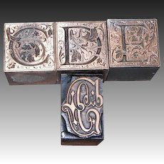 Four Printers Copper Woodblocks with Copper Letters