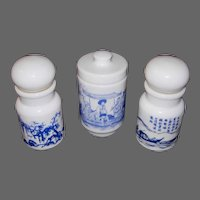 Three Belgium Milk Glass Apothecary Jars