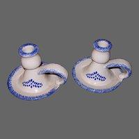 Pair Stoneware Chamber Sticks with Blue Sponge Ware Pattern