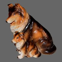 Vintage Collie with Pup Figurine by LEFTON