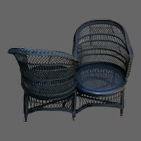 19th C. Wicker 'Tete-A-Tete' or Love Seat