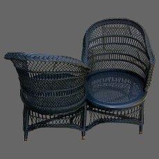 19th C. Wicker 'Tete-A-Tete' or Love Seat
