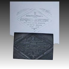 Printers Woodblock Advertising for Arthur Steven Feile Combined Orchestras