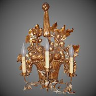 Newly Electrified Italian Hand Carved Wood & Metal Wall Sconce