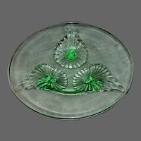 Vintage Green Depression glass Footed Mint Dish