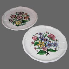 Two 1940s Floral Luncheon Plates Made In Italy for Bonwit Teller