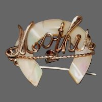 """Vintage Mother of Pearl Horseshoe """"Mother"""" Pin"""