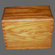 Vintage Oak Wood Recipe Box with Index Cards