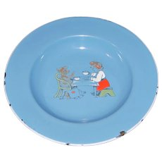 Child's Blue Enamelware Plate