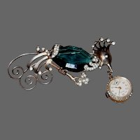 Sterling Peacock Lapel Brooch with ROXY Pendent Watch