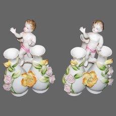 Pair Cherub Capodimonte Finger Bud Vases