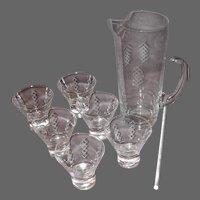 """Mid-Century JAVIT Crystal Martini Set """"Picket"""" Pattern"""