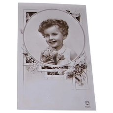 Glossy Sepia Tone Real Photo Postcard Curly Headed Little Girl FOX Paris