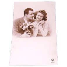 Glossy Sepia Tone Real Photo Postcard by A. NOYER Young Love