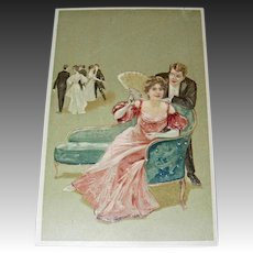 Vintage Postcard - Couple Seated on Chaise in Ballroom