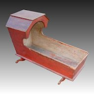 Early 19th Century Hooded Cradle w/Original Red Paint