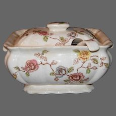 Vintage Ironstone Transferware Soup Tureen with Lid and Ladle