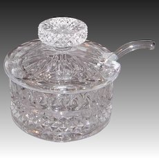 Crystal Condiment Jar with Lid and Glass Spoon