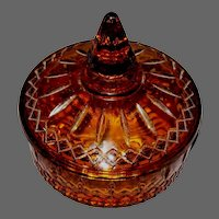 Amber glass Princess Candy Dish with Cover by Indiana Glass