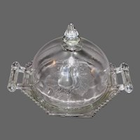 Dome Top Covered Butter/Cheese Dish in Baltimore-Pear Intaglio Pattern