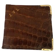 English Crocodile Wallet with Solid Gold Corners 1928