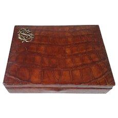 Edwardian Crocodile Jewelry Box with Initials