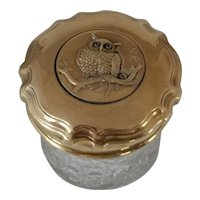 Brass and Glass Vanity Jar with Amber Eyed Owl 1920's