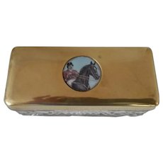 English Brass and Pressed Glass Box with Hunting Medallion