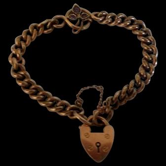 Antique 9 Carat Rose Gold Bracelet with Amethysts 1906