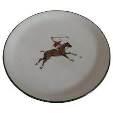Delano Studio Plate with Painted Polo Player and Pony 1962