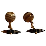 Scottish Agate and Gold Cufflinks