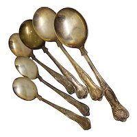 6 Soup Spoons English Silverplate