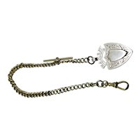 Antique Sterling Silver Watch Chain and Fob 1905