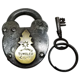Large Victorian Padlock with Key