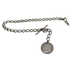 Sterling Silver Watch Chain with Victorian Fob 1896