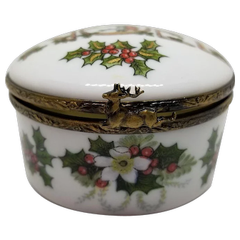 Limoges Holiday Box with Reindeer Clasp