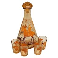 French Hunting Decanter with Four Glasses