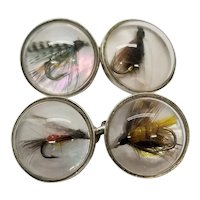 English Sterling Silver Reverse Crystal Cufflinks Fly Fishing Motif