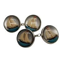 Sterling Silver Reverse Crystal Cufflinks with Sailboats