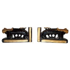 Ceramic Japan painted pistol bookends with pen holders