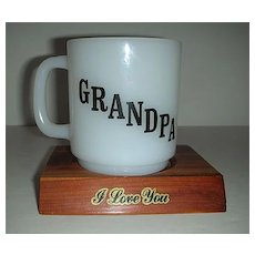 Grandpa poem Glasbake cup w/ wood Glacier platform
