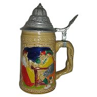 Ceramic German metal lidded stein w/  drinkers